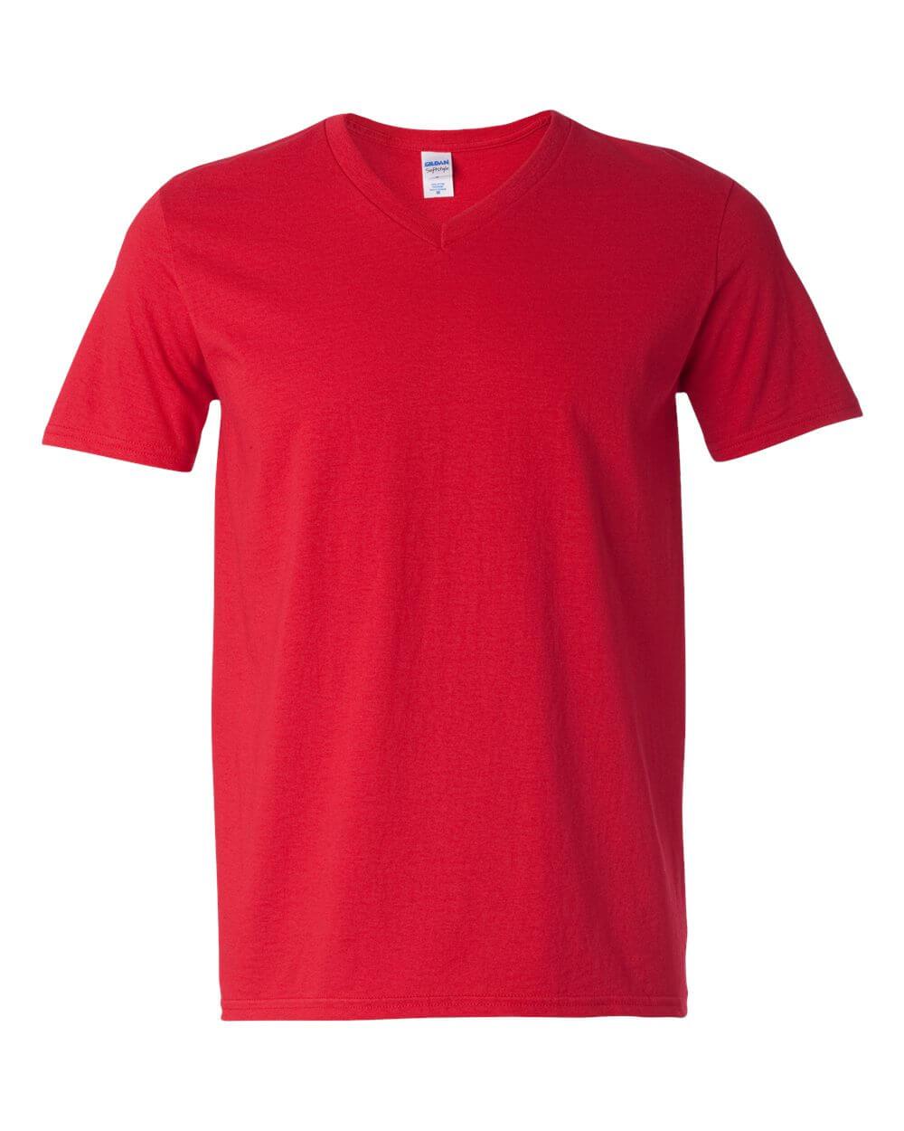 Gildan Soft Style V Neck Red Custom T Shirts