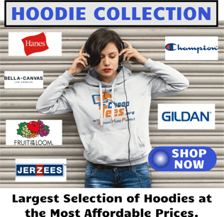 Cheap Screen Printing Hoodies and Full Zip Sweatshirts