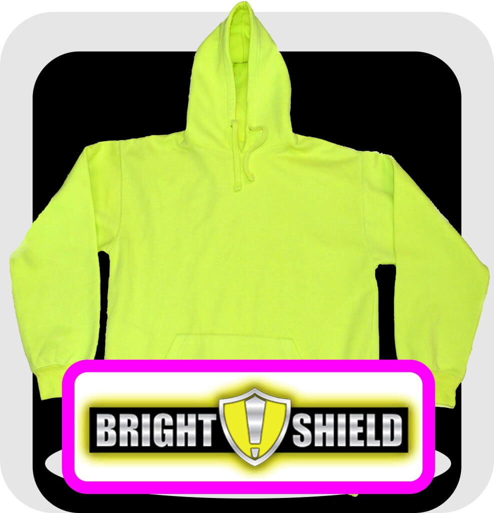 Bright Shield Safety Green Performance Hooded Pullovers
