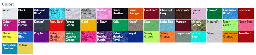FCheap Custom Shirt Colors Youth Fruit of the Loom