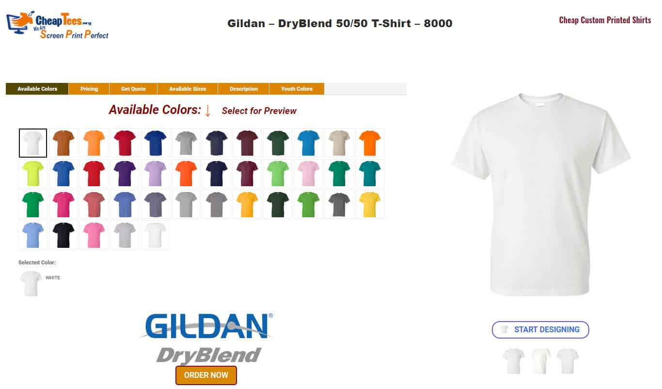 Order Gildan DryBlend T Shirts