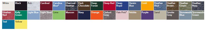 Hanes Ecosmart Adult T Shirt Colors