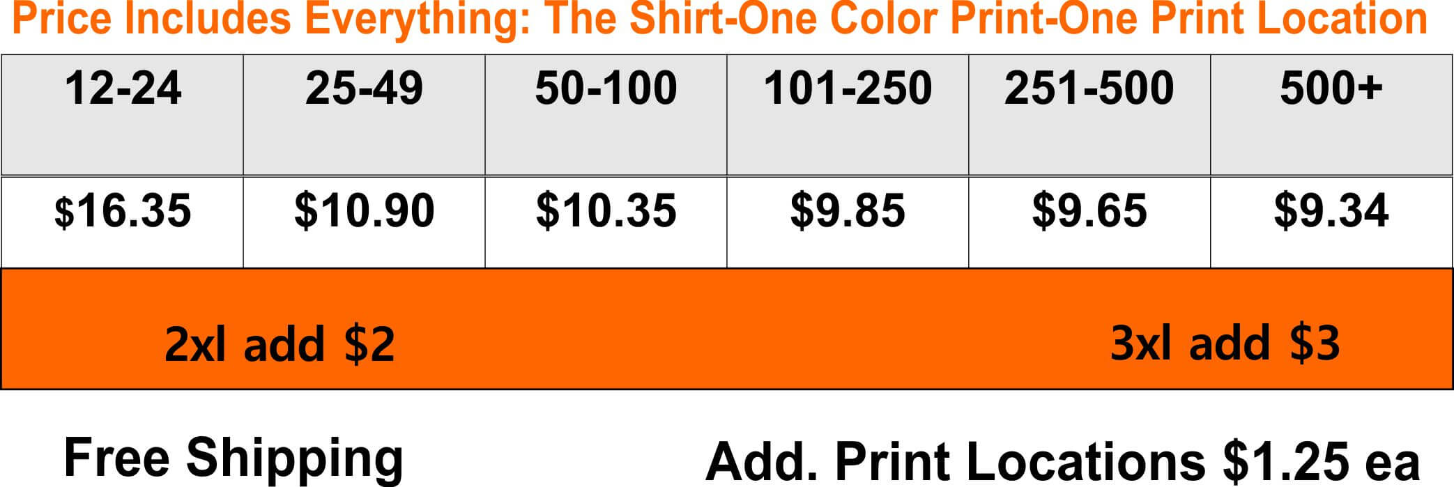 Snow-Heather-T-Shirts Pricing