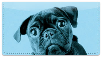 Colorful Pug Checkbook Covers