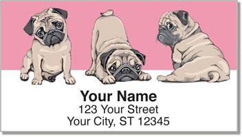 cartoon Pug Address Labels