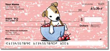 Pit Bull Puppies Cartoon Art Checks