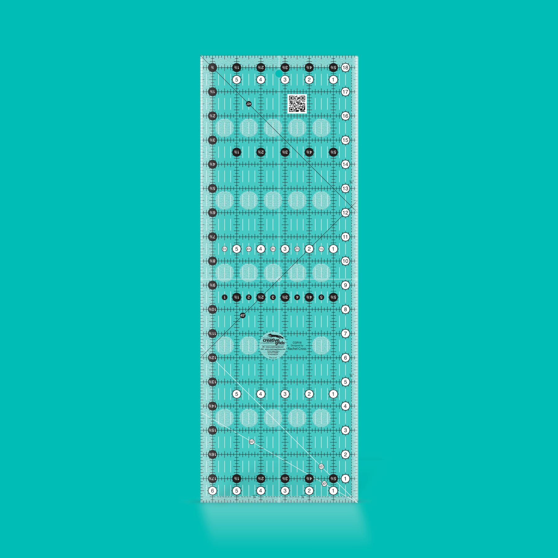 """Creative Grids 6 1//2/"""" x 18 1//2/"""" Rectangle Sewing and Quilting Ruler"""