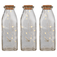 Add some festive sparkle to your table settings with this set of battery operated bottle lights.