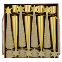 Make your table settings pop with these luxury crackers in coordinating polished and embossed gold.