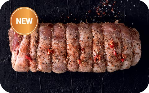 Spiced rolled pork belly roast A melt-in-the-mouth roast, spiced with a blend of salt, pepper and coriander.