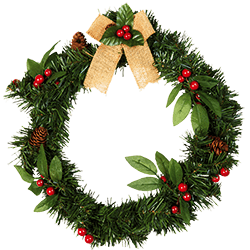 Add some extra cheer with this traditionally festive wreath comprised of lush green sprigs and vibrant red berries.