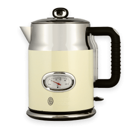 A stainless steel kettle with stunning retro accents. Available in Cream and Black.