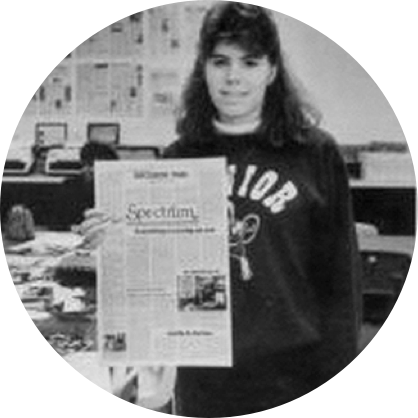 Cathy Kuhlmeier with a copy of her school's newspaper.