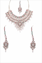 Jawaharaat Set of designer choker necklace maangtika forehead jewellery and pair of dangler earrings 20141216_necklaceset1