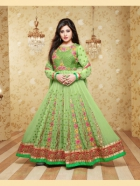 Reeme Sen Georgette Green Semi Stitched Anarkali Suit SHQU 102