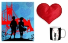 Canvas painting without frame and Valentine Heart Cushion and mug - Couple pc-vl-35-8vHF
