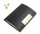 Superdeals Leather And Steel Business Card Holder SD242