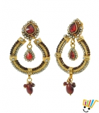 AAKHI Precious Golden and Diamond Raindrop Jhumka Dangle Earings AKS_ER_PGDR