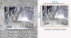meSleep Canvas painting without frame -  White tiger pc-11-014