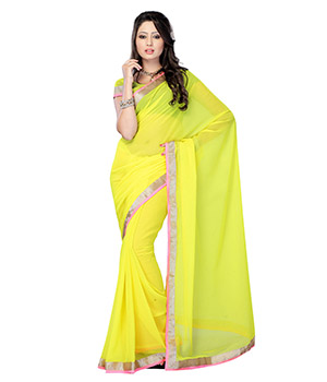 Fabdeal Lime Green Colored Chiffon Embroidered Saree RPZSR9294MSS