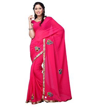 Fabdeal Pink Colored Dani dyed Embroidered Saree RQDSR9298DPC