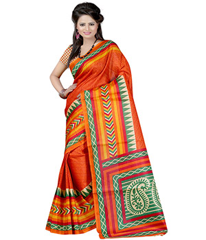Fabdeal Orange-Beige Colored Khadi cotton Printed Saree ULKSR9470MR