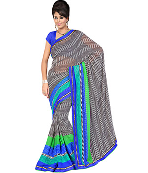 Fabdeal Grey Colored Chiffon Georgette Printed Saree VDKSR364ARM