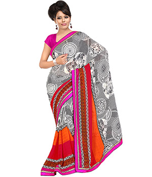 Fabdeal Black-White Colored Chiffon Georgette Printed Saree VDTSR368BRM