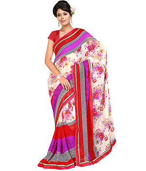 Fabdeal Red-White Colored Georgette Printed Saree VEASR373ARM
