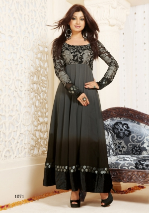 Black Color Party Were Anarkali Suit  uf782112
