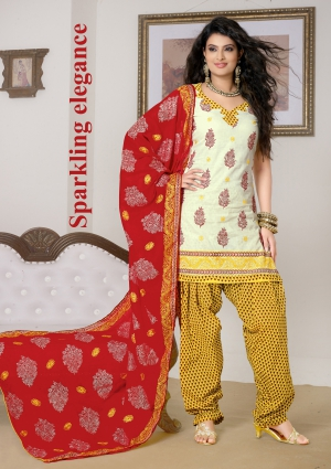 Sayali Latest White And Yellow Patiyala Heavy Emb. Work Suit uf782164
