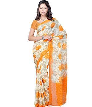 PetraFab Orange Colored Dani Georgette Printed Saree RUGSR7635NH