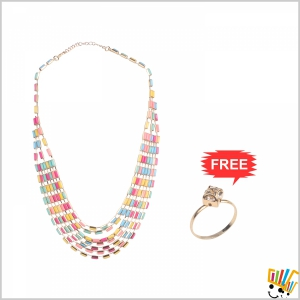 Jawaharaat Necklace In Combination Of Multicour Rectangular Shape Beads 20141221_Nacklace_4