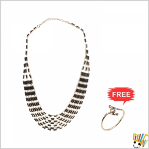 Jawaharaat Necklace In Combination Of Black And Gold Rectangular Shape Beads 20141221_Nacklace_5