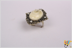 Jawaharaat Beautiful Ring In Brass And Cream And Studded With American Diamonds Fancyring_md_9