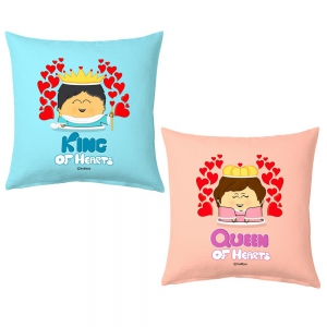 King And Queen of Hearts Romantic Designer Print Cozy Cushions Pair DL52CUS102