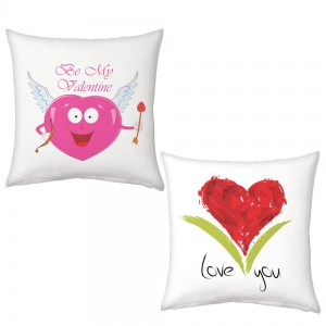 Heart Shape Cupid Cartoon And Red Heart I Love You Print Cushions Pair DL52CUS105