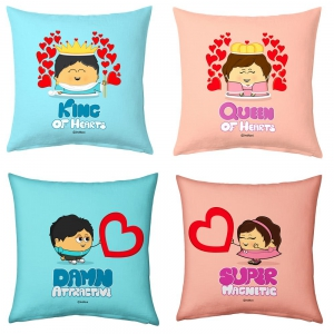 King And Queen of Hearts wid Romantic Cute Lovers 4 Pc Cushions Set DL54CUS109