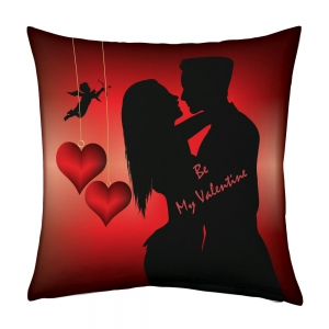 Romancing Love Couple with Cupid Hearts Printed Comfortable Cushion DLI5CUS904