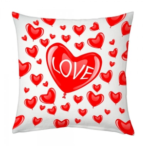 Multiple Glossy Red Hearts Romantic White Base Comfortable Cushion DLI5CUS907