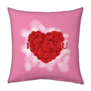 Romantic Floral Red Heart I Love You Printed Design Pink Cushion DLI5CUS912