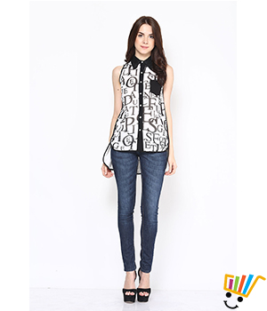 Eavan White-Black Printed High Low Shirt EA601