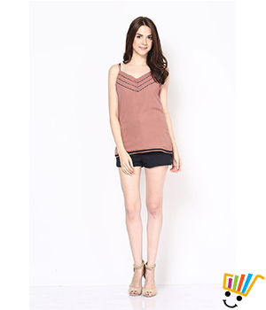Eavan Light Brown Strappy Top  EA605