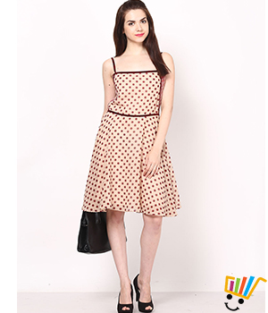 Eavan Beige-Maroon Polka Dot Printed Dress EA623