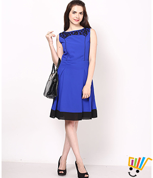 Eavan Royal Blue & Black Skater Dress EA632