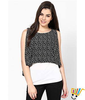 Eavan Black White Printed Top EA646
