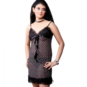 Black Dotted Hot Seductive Netty Night Frock Black Nightsuit DLI4NTW503