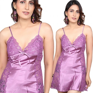 Designer Purple Satin Net Honeymoon Night Frock Purple Nightsuit DLI4NTW561