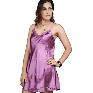 Rich Purple Designer Hot and Sexy Satin Night Wear Purple Sleepwear DLI4NTW563