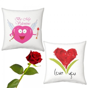 Cupid And Heart Printed Cushions Pair And Cute Rose Valentine Day Gift DLV52CUS105